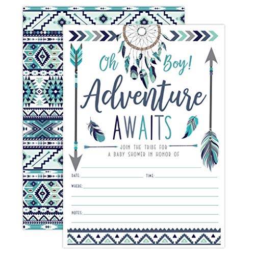 Boho It's a Boy Tribal Baby Shower Invitations, Joining Our Tribe Baby Shower Sprinkle Invites, 20 Count with Envelopes ()