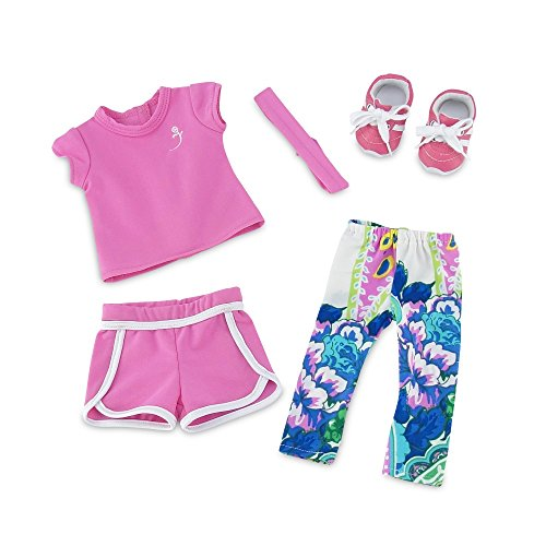 18-Inch-Doll-Clothes-Amazing-Mix-and-Match-Running-Exercise-Outfit-Includes-Pink-Shorts-Matching-T-Shirt-Multi-color-Leggings-and-Cool-Pink-Sneakers-Fits-American-Girl-Dolls