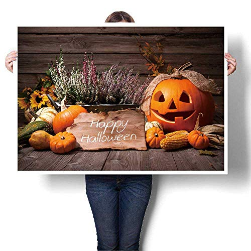 SCOCICI1588 Canvas Painting Sticker Halloween Still Life with Pumpkins and Halloween Holiday Text Oil Painting,16