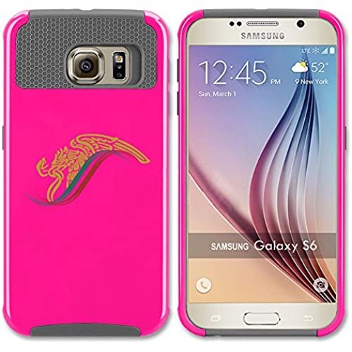 Samsung Galaxy (S7 Edge) Shockproof Impact Hard Soft Case Cover Mexico Eagle Escudo Aguila (Hot Pink-Gray) Sales