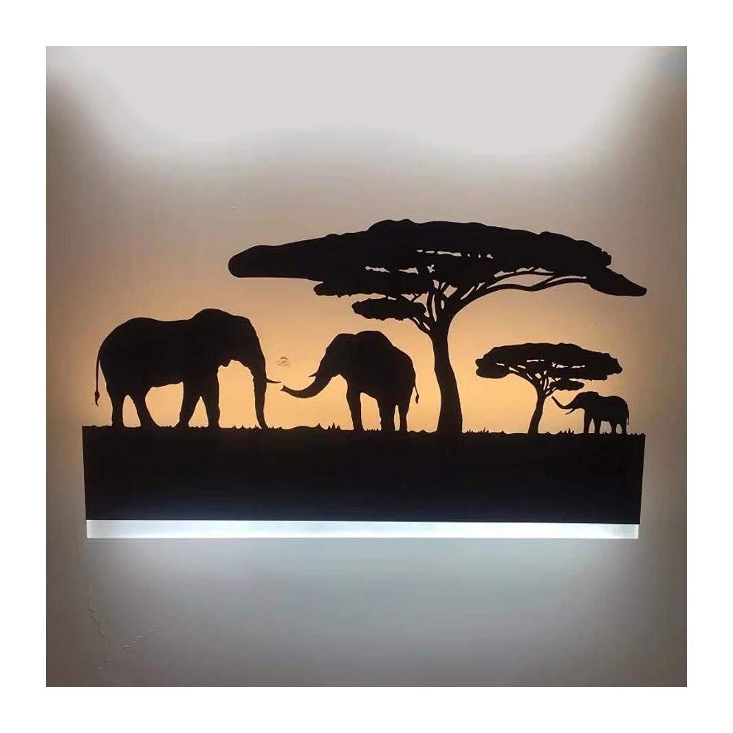 Augrous 12W LED Wandlampe Eisen Elefant Leichter Körper Wandgemälde Lampe zum Schlafzimmer Wohnzimmer Dekoration Licht