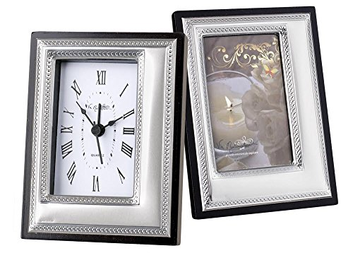 5th Avenue Collection Tabletop Clock with Matching Picture Frame (3.5 x 1 x 5 Square corners)