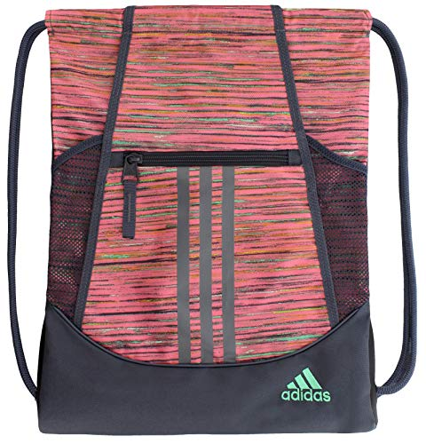 adidas Unisex Alliance II Sackpack, Visionary Chalk Pink/Deepest Space/Hi - Res Green, ONE SIZE