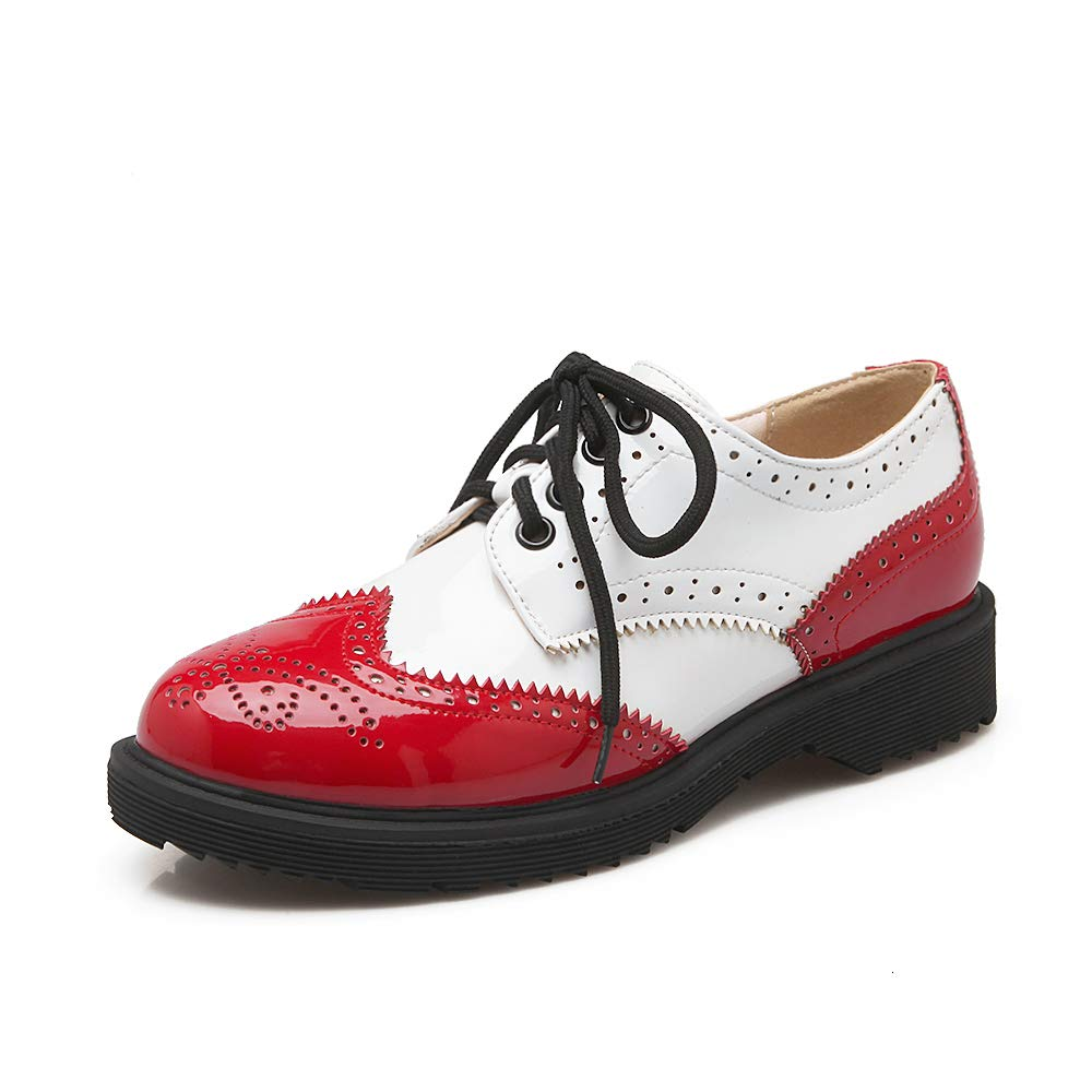 Nincyee Donna Verniciata Pelle Oxford Brogues Scarpe Stringate Basse Vintage College Ragazze Derby  Rosso