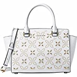 Michael Kors Women's Selma Medium Top Zip Satchel (Floral Optic White)