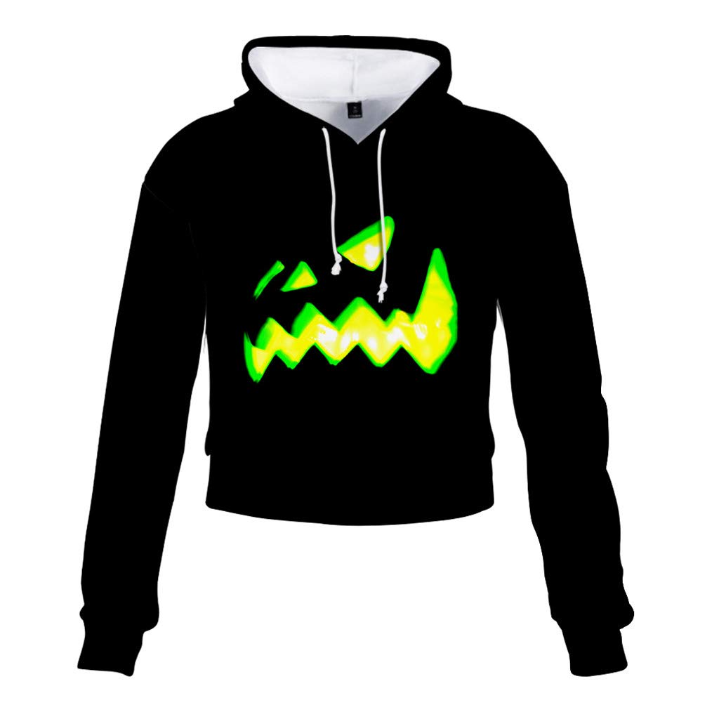 Jialili Womens Hoodie Halloween 3D Print Party Casual Long Sleeve Hooded Pullover Irregular Top Blouse Sweatshirt(XX-Large,Black) by Jialili