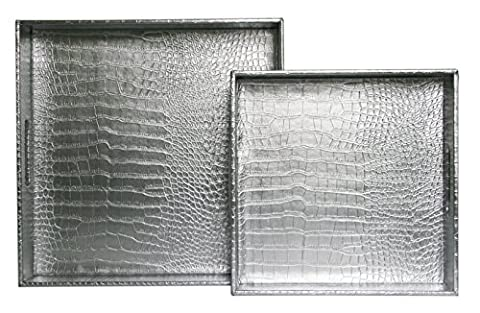 WOOSAL Square Alligator Faux Leather Serving Tray with Handles,Set of 2 (Silver) (Round Tray For Ottoman)