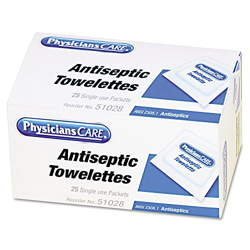 PhysiciansCare 51028 First Aid Antiseptic Towelettes, 25/Box