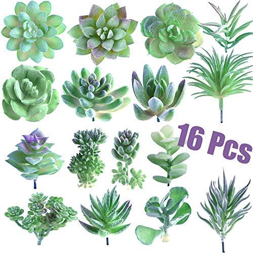 FEPITO 16 Pcs Random Size Artificial Succulent Plants Unpotted Succulents Picks Faux Succulent Plant in Green Stems for…