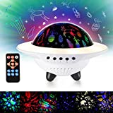 Ohuhu UFO Night Light Projector, Starry Night Projector, 6 Projector Film 9 Different Colors, Bluetooth Music Speaker, Remote Control & Automatic Timer, Unicorn Light for Christmas Bedroom Party Decor