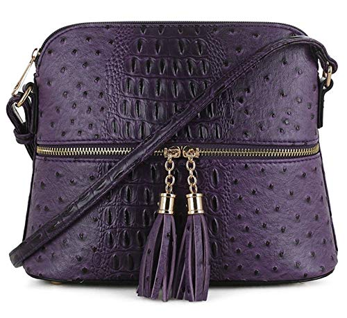 SG SUGU Crocodile Pattern Lightweight Medium Dome Crossbody Bag with Tassel | -
