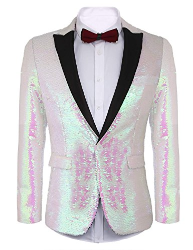 COOFANDY Shiny Sequins Suit Jacket Blazer One Button Tuxedo For Party,Wedding,Banquet,Prom,Nightclub, Pink, Medium (One Sequin)