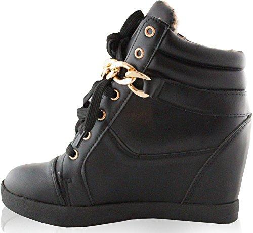 Kukubird Ladie's High Heel Ankle-High With Buckle & Zip as Display Black a95U33S