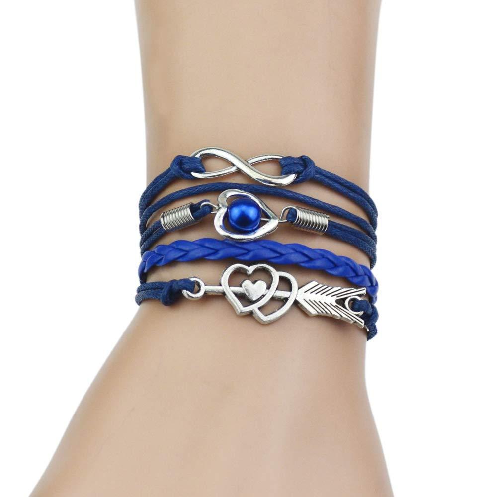 Jiuyuan Multi-Strands Infinity Silver Color Heart Charm Leather Braid Bracelet Bangle Jewelry