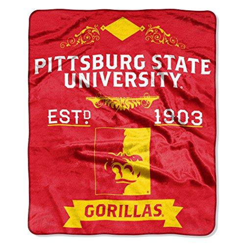 NCAA Pittsburgh State Gorillas Label Plush Raschel Throw, 50