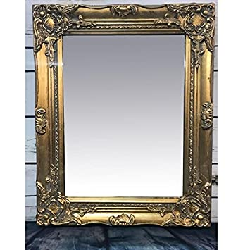 a82afa6a2c1 giftwarez French Gold Baroque Rococo Wood Frame Antique Ornate Wall Mounted  Large Mirror 53cm  Amazon.co.uk  Kitchen   Home