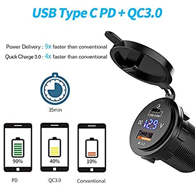 MICTUNING 36W Fast PD USB-C Car Charger with USB Quick Charge 3.0 and Type C Charger Socket with LED Digital Voltmeter Compatible with iPhone iPad Pixel Samsung MacBook