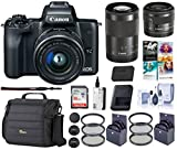 Canon EOS M50 Mirrorless Camera with EF-M 15-45mm f/3.5-6.3 and EF-M 55-200mm f/4.5-6.3 is STM Lenses, Black - Bundle with 16GB SDHC Card, Camera Case, 49mm/52mm Filter Kits, Cleaning Kit, and More