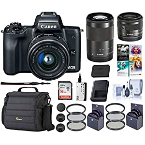 Canon EOS M50 Mirrorless Camera with EF-M 15-45mm f/3.5-6.3 and EF-M 55-200mm f/4.5-6.3 is STM Lenses, Black – Bundle with 16GB SDHC Card, Camera Case, 49mm/52mm Filter Kits, Cleaning Kit, and More