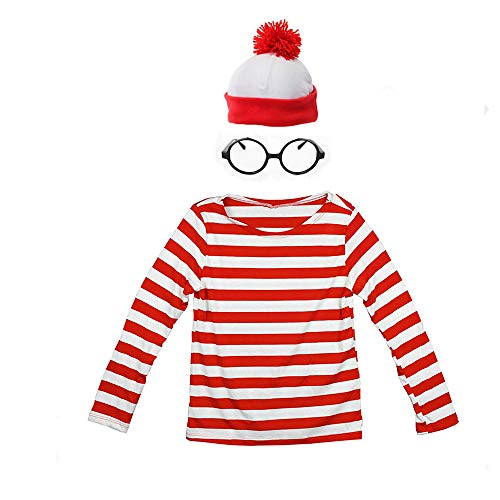 THYLL Cos Halloween Cosplay Shirts, Where's Waldo Costume, Red and White Striped Shirt, Funny Sweatshirt, Glasses Hat ()