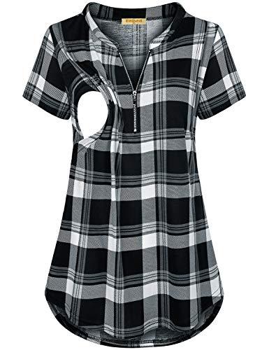 (Baikea Zip T-Shirt, Women Henley V Neck Cap Sleeve Nursing Tops for Breastfeeding Front Zipper Curved Hem Maternity Clothes Stretchy Chic Summer Tunic Black & White XXL)