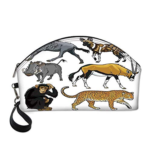 - Zoo Beautiful Women's semi circular cosmetic bag,Collection of Cartoon Style Wild Animals of Africa Fauna Habitat Savannah Wilderness Decorative For traveling,10.8