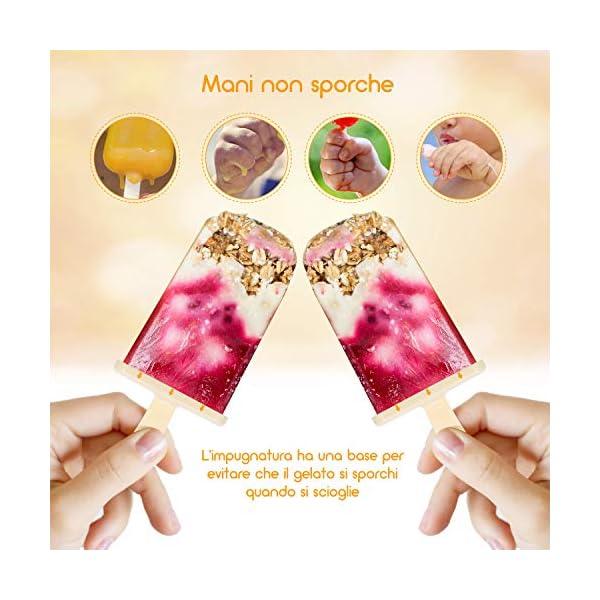 Icnow Stampi Ghiaccioli, 9 Stampi per Gelato con 5 Stampi in Silicone,con Spazzola e Imbuto,FDA e BPA Gratis… 3