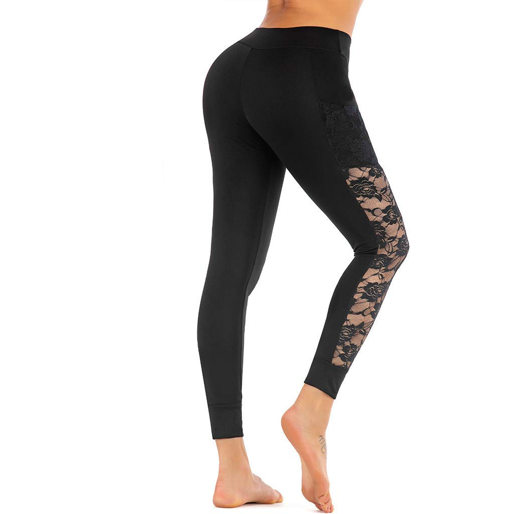 Goddessvan 2019 Women Lace Skinny Yoga Sport Pants Leggings Cell Phone Pockets Trousers Yoga Leggings