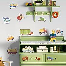 York Wallcoverings RMK1132SCS RoomMates Adhesivos de Pared con Despega y Adhiere de Transporte Multicolor