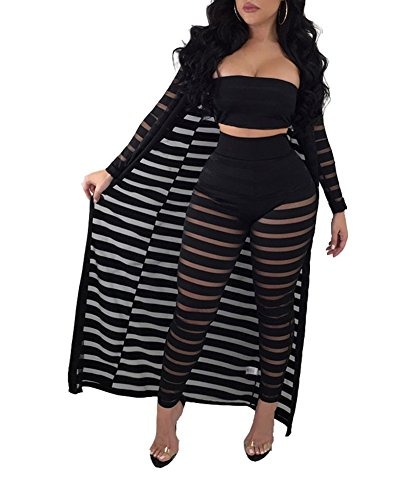 Ophestin Women Sheer Mesh Tube Top Long Pants Bodycon 3 Piece Cardigan Outfits Jumpsuits Set Black S