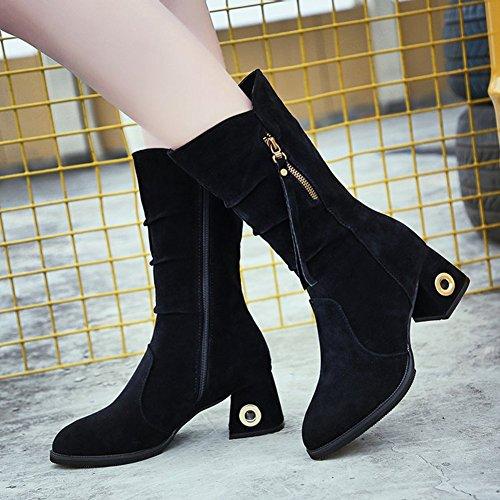 Btrada Womens Fashion Zip side Mid-Calf Boots-Thick Low Heel Rivet Fur Linling Short Booties Black wqyXpvd