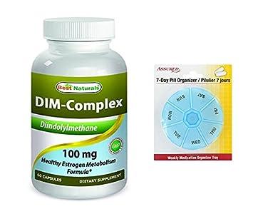 Mejor Naturals DIM complejo 100 mg 60 cápsulas con gratis 7 días plástico píldora organizadores