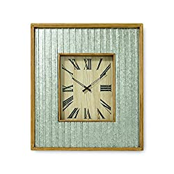 The Farmer's Market Galvanized Metal Wall Clock, Quartz Movement, Glass, Metal and Wood, Over 2 1/2 Ft Tall, 1 AA Battery Required, By Whole House Worlds
