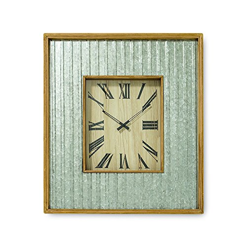 The Farmer's Market Galvanized Metal Wall Clock,- Framed Wall Art