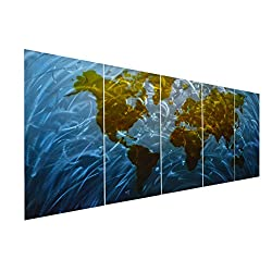Pure Art Blue World Map Metal Wall Art, Large Scale Hanging, 3D Wall Art for Modern and Contemporary Decor, 5-Panel Abstract Contemporary Sculpture, 24x 64, Works in Indoor and Outdoor Settings
