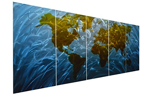 Pure Art Blue World Map Metal Wall Art, Large Scale Hanging, 3D Wall Art for Modern and Contemporary Decor, 5-Panel Abstract Contemporary Sculpture, 24''x 64'', Works in Indoor and Outdoor Settings by Pure Art