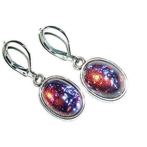 Designer Art Glass Earrings - MEXICAN FIRE OPAL EARRINGS Czech Glass DRAGONS BREATH Silver Pltd Leverback Dangle Drops