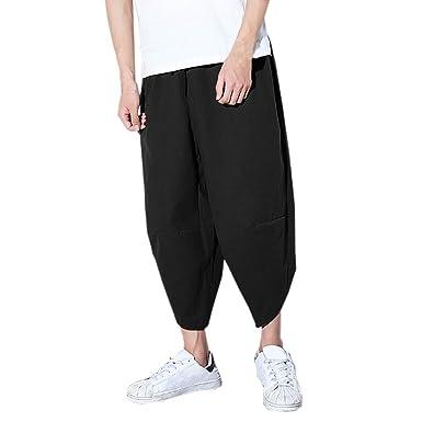 b482bdcd5545 BingYELH Mens Casual Elastic Waist Linen Capri Wide Leg Baggy Harem Trousers  Beach Long Shorts Trousers