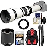 Vivitar 650-1300mm f/8-16 Telephoto Lens (White) (T Mount) 2X Teleconverter (=2600mm) + Monopod + Backpack + Kit Nikon D3200, D3300, D5300, D5500, D7100, D7200, D610, D750, D810 Camera