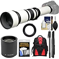 Vivitar 650-1300mm f/8-16 Telephoto Lens (White) (T Mount) with 2x Teleconverter (=2600mm) + Monopod + Backpack + Kit for Nikon D3200, D3300, D5300, D5500, D7100, D7200, D610, D750, D810 Camera