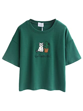 Persun Green Embroidery Letter And Cat Short Sleeves Crop T-shirt ...