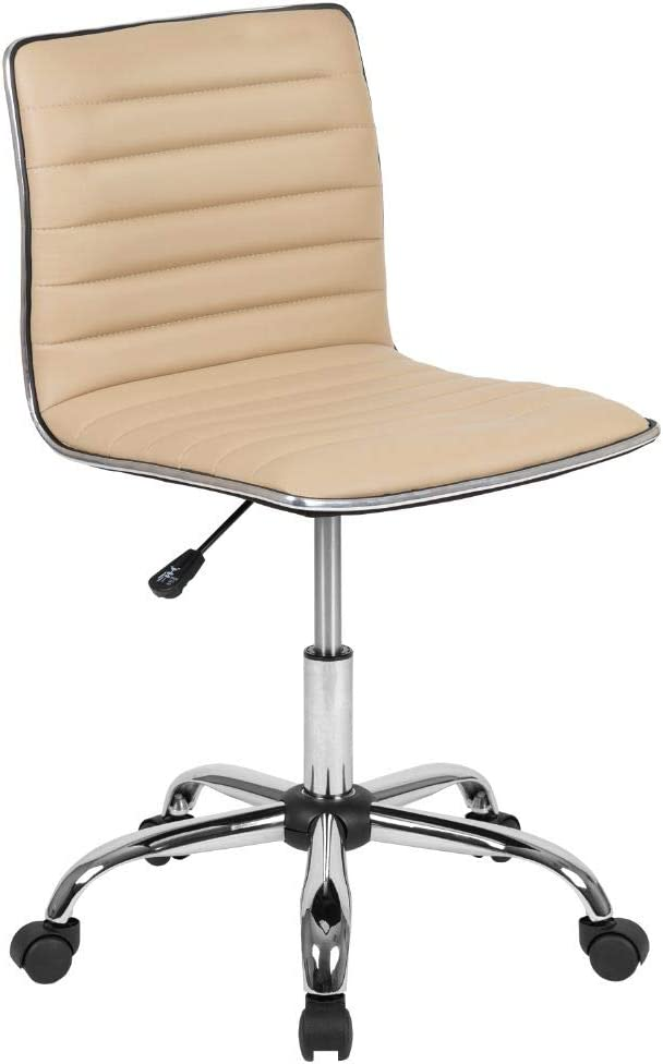 Flash Furniture Low Back Designer Armless Tan Ribbed Swivel Task Office Chair