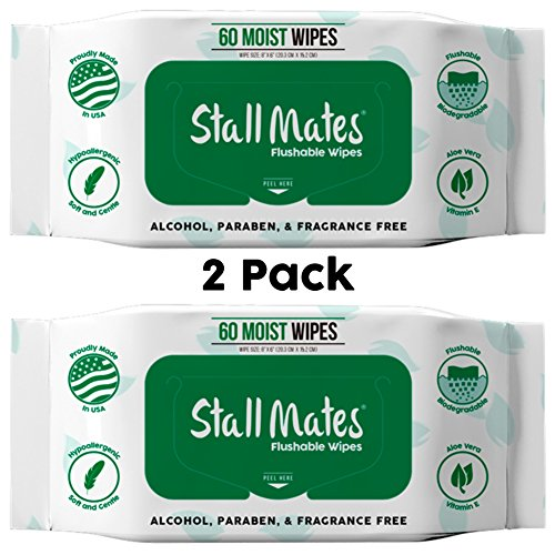 Stall Mates 60-Wipe Home Pack: Flushable and Hypoallergenic Moist Wipes Made in the USA. Unscented with Vitamin-E & Aloe, 100% Biodegradable (2 - Biodegradable Natural Wipes
