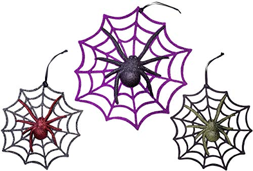 Christmas Traditions 11 inch + 8 inch Glittered Halloween Ornaments for Door/Window/ Wall Spider Ornaments Party Supplies Decorations (set of 3) for $<!--$14.89-->