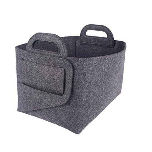 Huayoung Foldable Grey Felt Storage & Organization Container-Size in 14 by 10 by 9 inch-Multifunctional Household Storage Bins (Dark Grey)