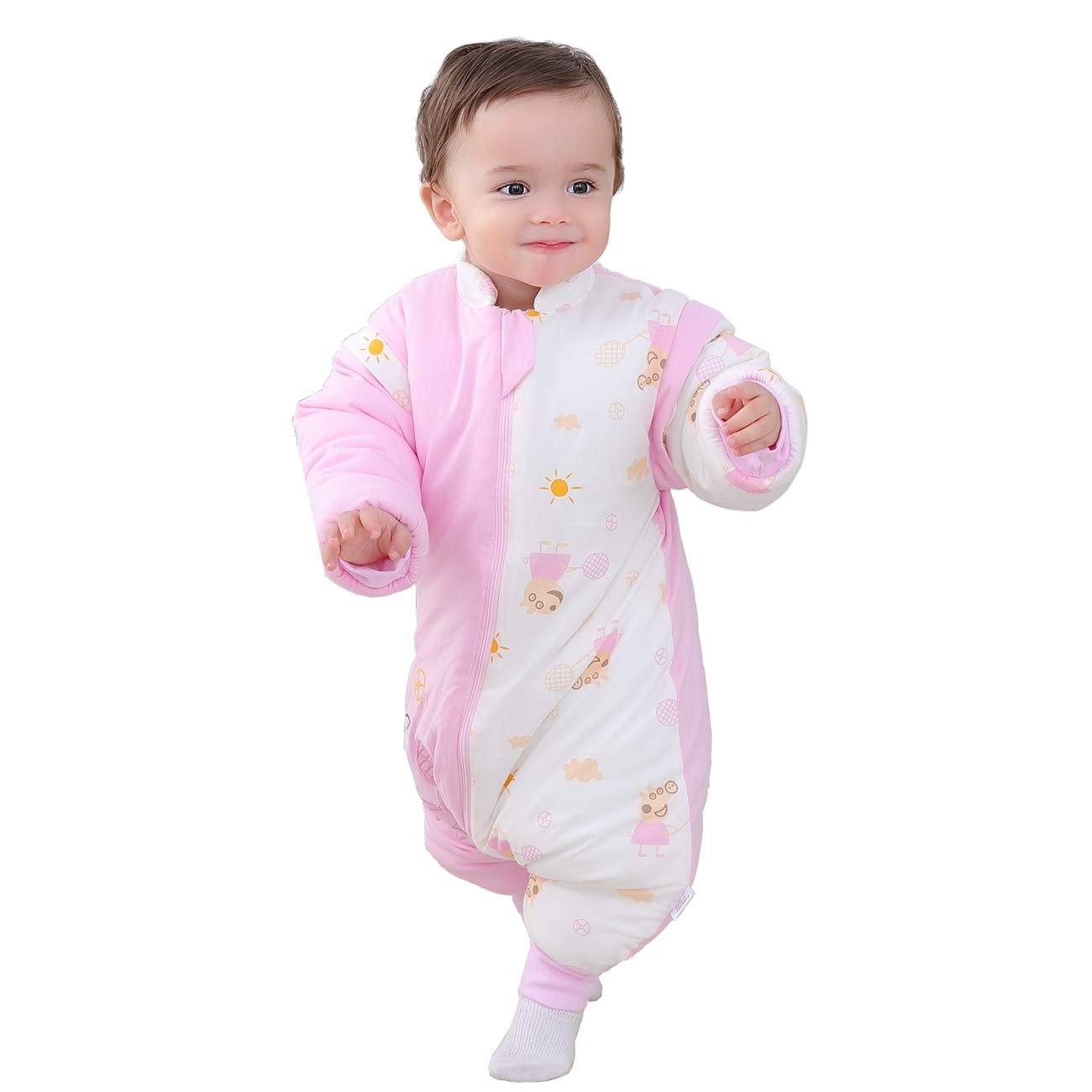 Saco de dormir para bebé con pies y pijama de manga larga de algodón, traje de dormir para bebé de 1 a 3 años. rosa rosa Talla:M(0-1 years old): Amazon.es: ...