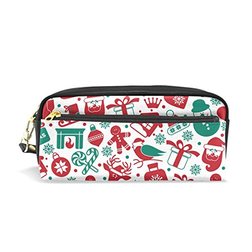 PU Leather Christmas Snowmen Hat Santa Claus Pattern Pen Case Pouch Stationary Case Makeup Cosmetic Bag Holder Bag for School Office Storage ()