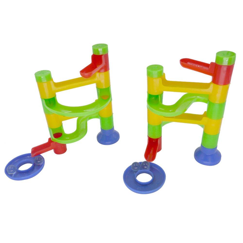Adam Victor™ 2 Sets 24 Pcs Marble Run Starter Set, Child Mini Building Blocks Simple Toys-20 Plastic Pieces + 4 Glass Marbles Adam VictorTM
