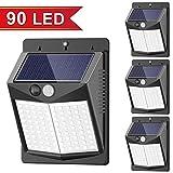 [Upgraded 90 LED] Solar Lights Outdoor, SEZAC Solar Security Lights Solar 150° Wide Angle Lighting Solar Motion Sensor Lights Wireless Waterproof Outdoor Lights for Garden Fence Patio Garage (4 Pack)