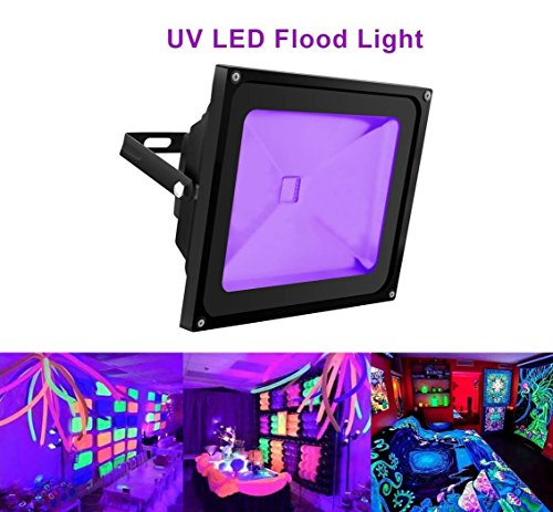 UV Light Black Light, HouLight High Power 50W Ultra Violet UV LED Flood Light IP65-Waterproof (85V-265V AC) for Blacklight Party Supplies, Neon Glow, Glow in the Dark, Fishing, Aquarium, - Uv 400 Nm